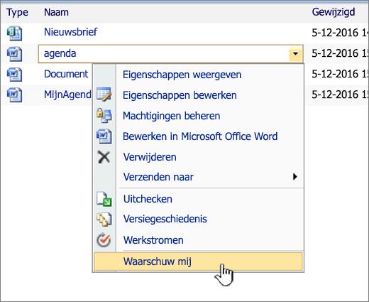 Vervolgkeuzelijst in SharePoint 2007 met Waarschuw mij gemarkeerd