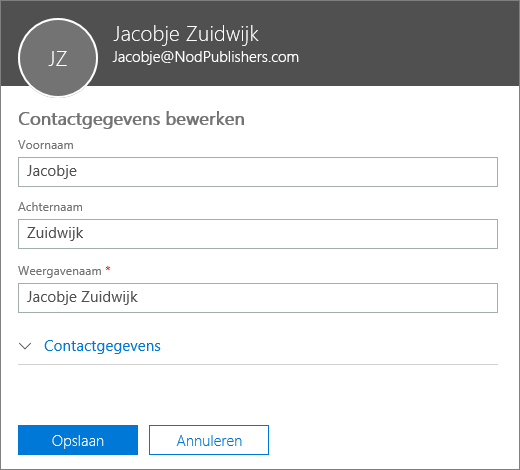 Het deelvenster voor het bewerken van een contactpersoon waar u een nieuwe voornaam, achternaam en weergavenaam kunt typen.