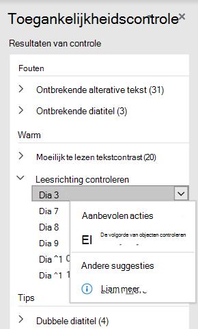 Selecteer onder Aanbevolen acties de optie objectvolgorde verifiëren.