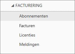 Schermafbeelding van het menu Facturering in het Office 365-beheercentrum met Abonnementen geselecteerd.