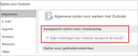 Opties voor Outlook-instellingen weergeven