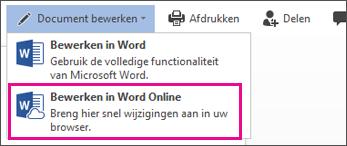 Bewerken in Word Online