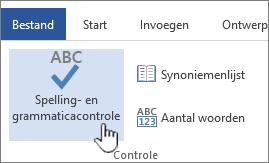 Knop Spelling- en grammaticacontrole op het lint Controleren