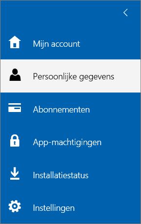 Het menu Mijn account waarin de optie Persoonlijke gegevens is geselecteerd.