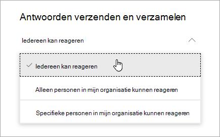 Opties voor delen voor Microsoft Forms