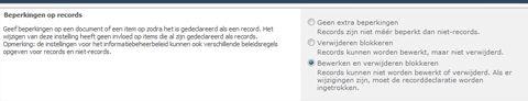 Beperkingen op records