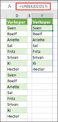 De functie UNIQUE voor het sorteren van een lijst met namen