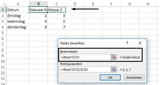 Klik in het tekstvak Reeksnaam om een andere cel te selecteren die u als legendanaam wilt gebruiken.