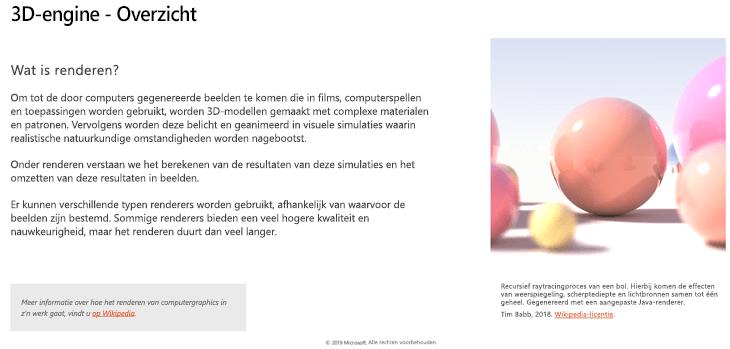 Schermafbeelding van het gedeelte van het 3D-Engine overzicht van de richtlijnen van 3D-inhoud