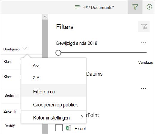 Klik op filter om filter deel venster te openen