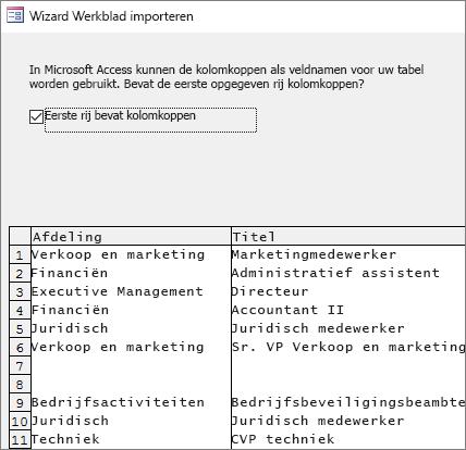 Gegevens uit Excel importeren