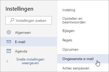 Schermafbeelding van het menu instellingen met ongewenste e-mail is geselecteerd