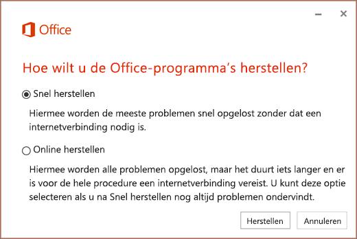 Office Snel herstellen