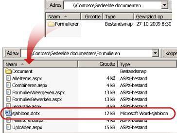 De inhoud van de map Mappen in een documentbibliotheek