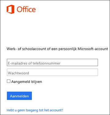 Schermafbeelding van aanmeldingspagina voor het installeren van Office