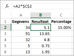 Getallen vermenigvuldigen met een percentage