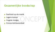 Voorbeeld van een tekstwatermerk, 'CONCEPT', dat wordt gebruikt als de achtergrond van een PowerPoint-dia
