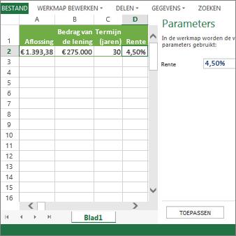 Als u een parameter invoert in het deelvenster, wordt deze gebruikt in cel D2.