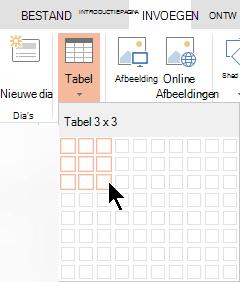 Selecteer op het tabblad Invoegen de optie Tabel.