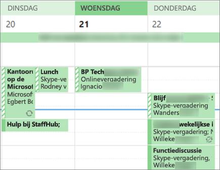 Hoe uw agenda eruitziet als een gebruiker wanneer u deze deelt met beperkte Details.