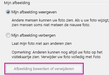Schermafbeelding van de knop Foto bewerken of verwijderen die grijs wordt weergegeven en is gemarkeerd