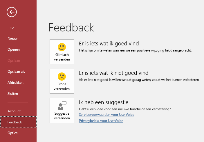 Klik op Bestand > Feedback om Microsoft te laten weten of u opmerkingen of suggesties over Access hebt