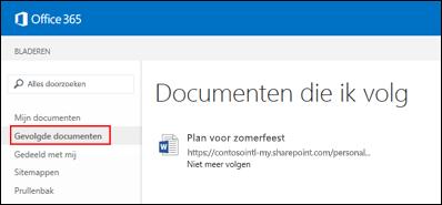 Schermafbeelding van de OneDrive voor Bedrijven-documenten die u volgt in Office 365.