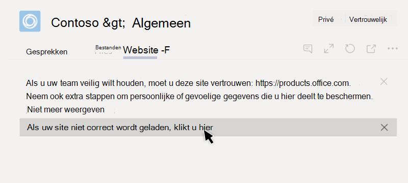 Website kan niet worden geladen op een tabblad