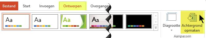 De knop Achtergrond opmaken bevindt zich op het tabblad Ontwerpen van het lint in PowerPoint