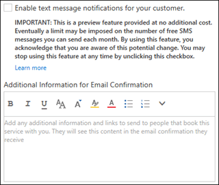 Schakel het selectievakje in om SMS-berichten te verzenden naar uw klanten