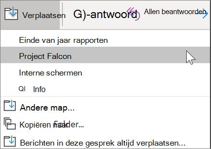 Een bericht verplaatsen naar een map in Outlook