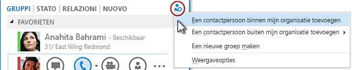 Klik in het hoofdvenster van Lync op de knop Een contactpersoon toevoegen.