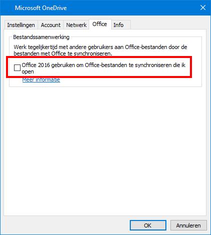 Tabblad Office uploaden in OneDrive instellingen