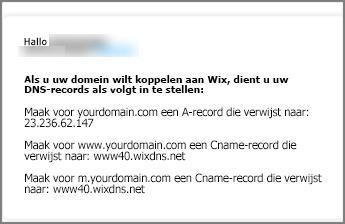 Gebruik deze instellingen voor DNS-records in Wix.com