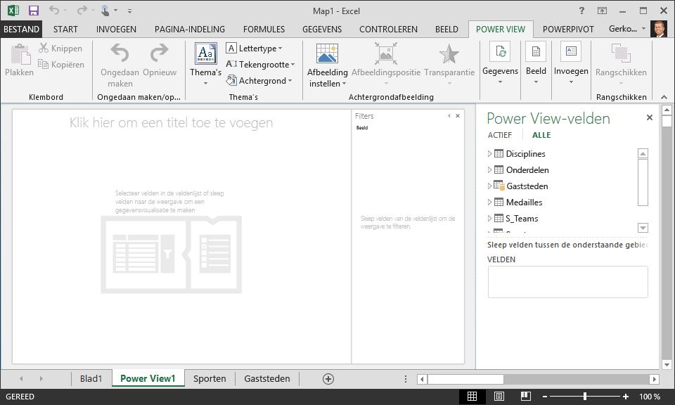 Een leeg Power View-rapport in Excel