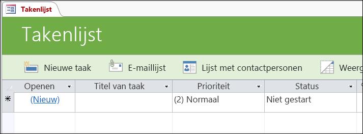 Formulier takenlijst in de takendatabase-sjabloon van Access