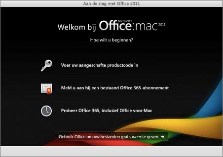 Schermafbeelding van de welkomstpagina voor Office voor Mac 2011
