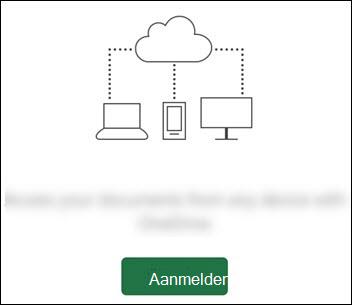 Verschillende apparaten die zijn verbonden met een cloud. Een knop Aanmelden onderaan.
