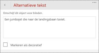 Dialoogvenster alternatieve tekst voor afbeeldingen in PowerPoint voor Windows-telefoons.