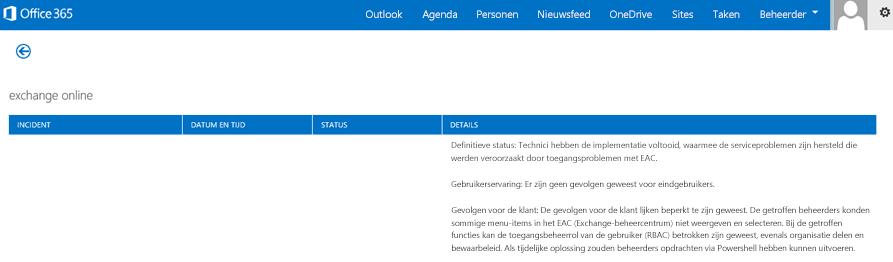 Een afbeelding van het Office 365-statusdashboard waarin wordt uitgelegd dat de Exchange Online-service is hersteld, met de reden waarom.