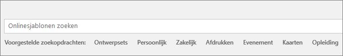 Het zoekvak voor het online zoeken naar Word-sjablonen.