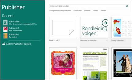 Schermafbeelding van sjablonen in het startscherm van Publisher.