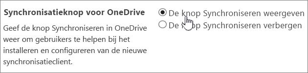 Beheerinstellingen voor de Synchronisatieknop voor OneDrive