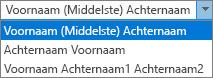 Outlook-opties voor personen, met opties voor de weergavevolgorde voor Volledige naam.