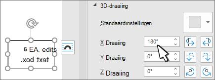Tekstvak met 3D-draaiing x 180 graden
