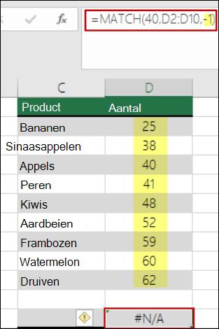 Excel-vergelijken, functie
