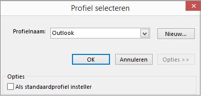 Standaardinstelling van Outlook accepteren in dialoogvenster Profiel kiezen