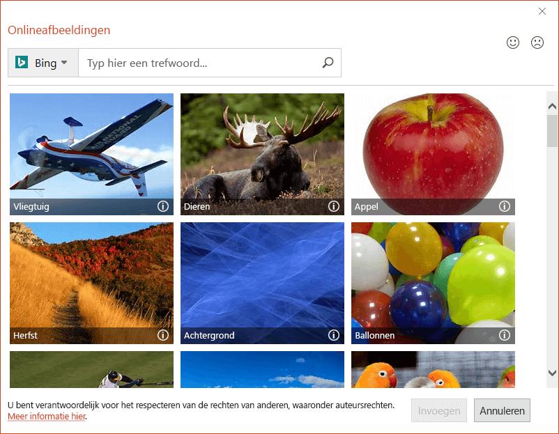 Het dialoogvenster Onlineafbeeldingen in Office 2016