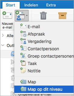 Toont map op dit niveau in de lijst nieuwe Items te selecteren.