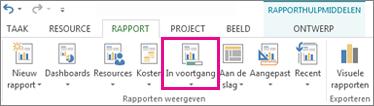 Knop In uitvoering op het tabblad Rapport